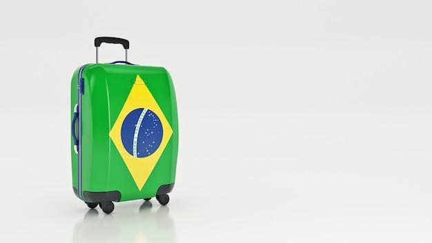 Чемодан с флагом бразилии 3d-рендеринга