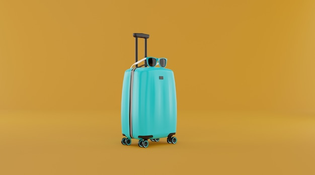 Suitcase with copy space 3d illustration.