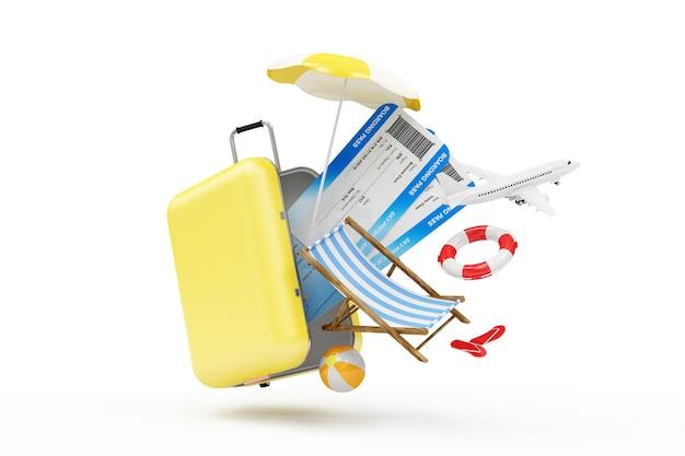 Чемодан с различными аксессуарами для отпуска с посадочным талоном и самолетом