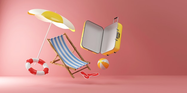 Suitcase with different accessories for vacation levitation on pink studio background