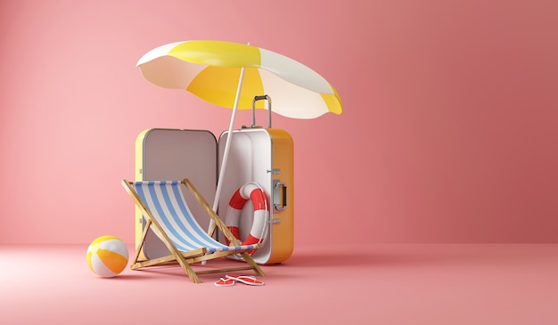 Suitcase with different accessories for vacation on pink studio background