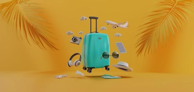 持っていた他の旅行の必需品、3dレンダリングを備えたスーツケース。