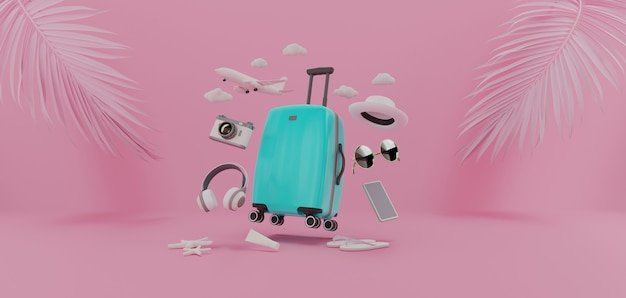 Suitcase with had and other travel essentials, 3d rendering.