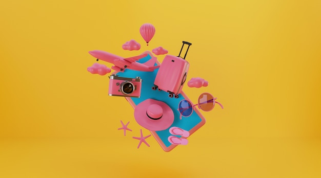 스마트 폰 및 기타 여행 필수 3d 렌더링 가방.