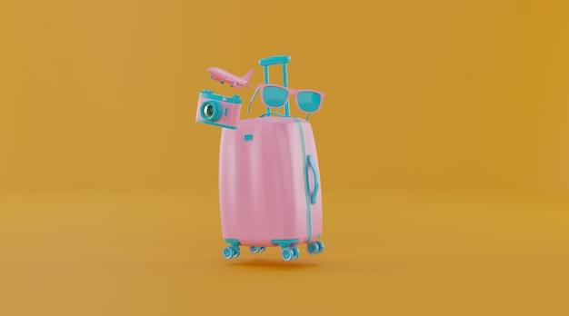 스마트 폰 및 기타 여행 필수품이 들어있는 여행 가방.