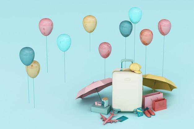 青い背景に旅行者のアクセサリーとスーツケース。旅行のコンセプト。 3dレンダリング