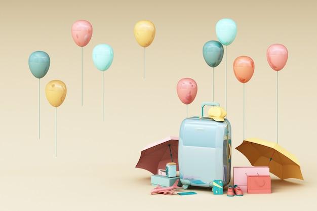 クリーム色の背景に旅行者のアクセサリーとスーツケース。旅行のコンセプト。 3dレンダリング