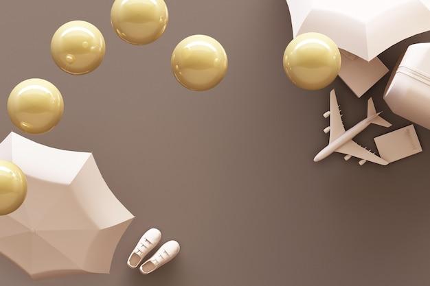 파스텔 갈색 배경에 여행자 액세서리와 가방. 여행 개념. 3d 렌더링