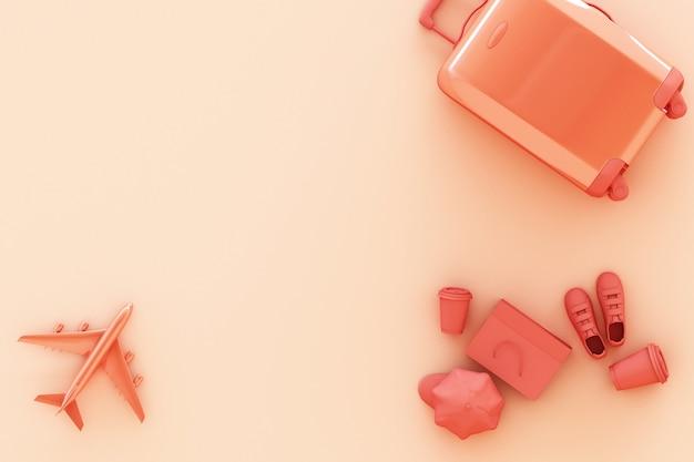파스텔 오렌지 배경에 여행자 액세서리와 가방. 여행 개념. 3d 렌더링