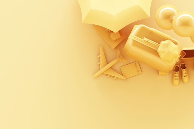 파스텔 노란색 배경에 여행자 액세서리와 가방. 여행 개념. 3d 렌더링