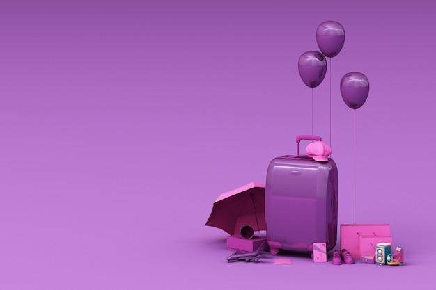 紫色の背景に旅行者のアクセサリーとスーツケース。旅行のコンセプト。 3dレンダリング