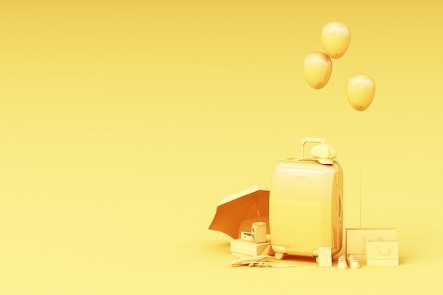 黄色の背景に旅行者のアクセサリーとスーツケース。旅行のコンセプト。 3dレンダリング