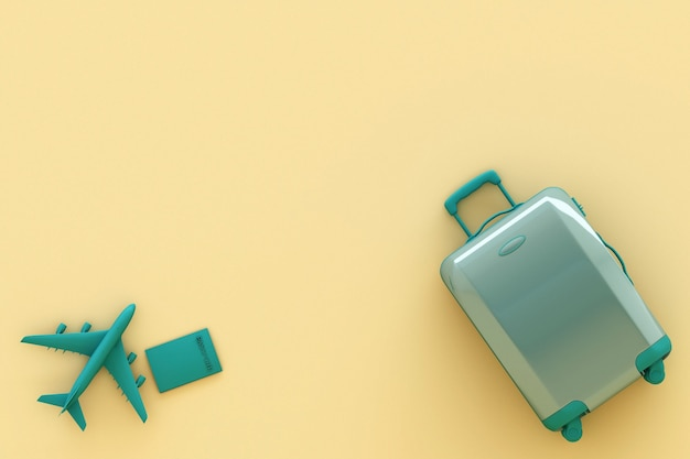 Suitcase with traveler accessories on pastel yellow background. travel concept. 3d rendering