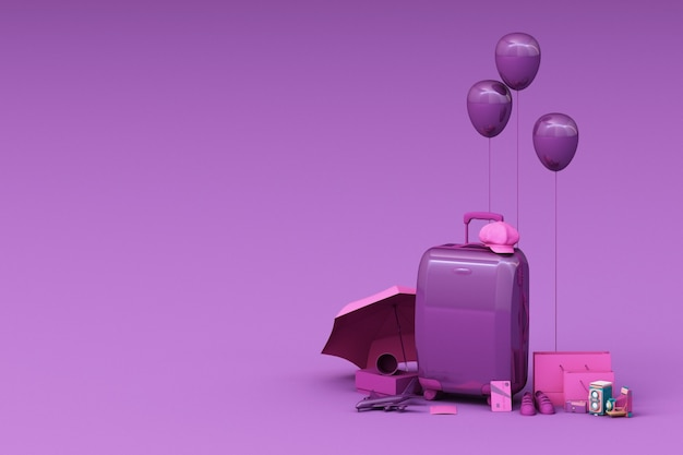 Suitcase with traveler accessories on purple background. travel concept. 3d rendering