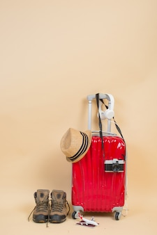 Suitcase with traveler accessories