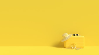Suitcase yellow color with sunglasses with hat summer concept