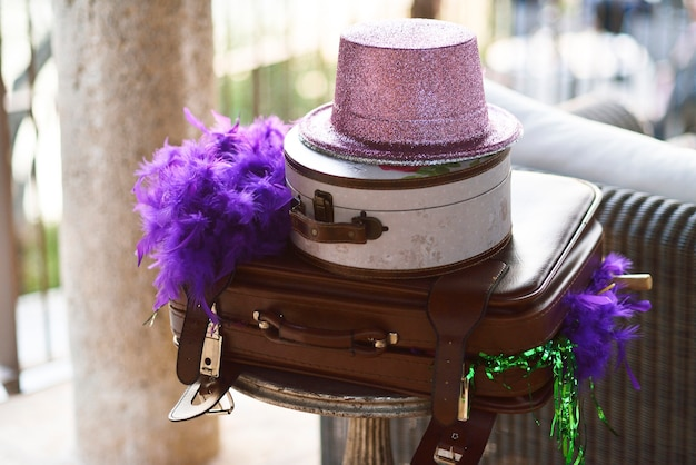 Suitcases and hats as vintage festive decorations