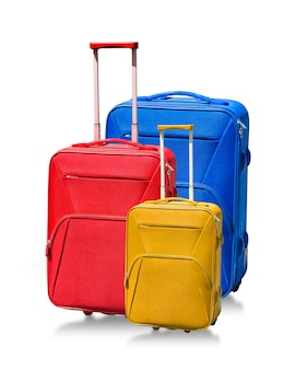 白で隔離のスーツケース