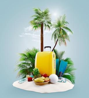 Чемоданы с пальмами на пляже, острове. концепция праздника или отпуска. 3d визуализация иллюстрации