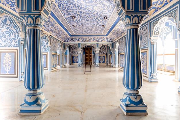 At sukh niwas blue room, city palace, jaipur, india.