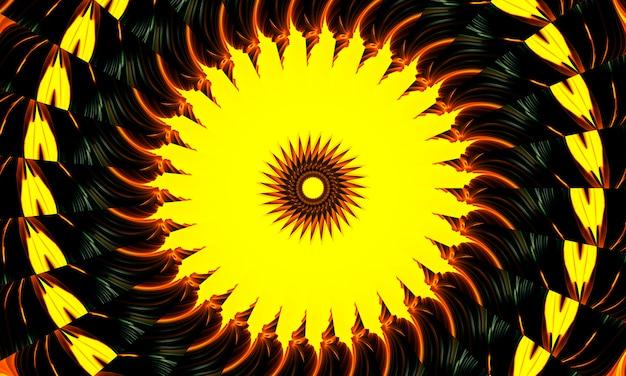 유황 만화경. 천연 유황 광물에서 완벽 한 배경입니다. 지옥 모양입니다.