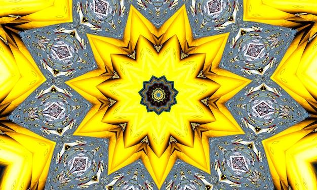 유황 노란색 만화경입니다. 천연 유황 광물에서 완벽 한 배경입니다. 지옥 펜타그램.