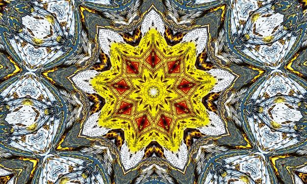 유황색 만화경. 천연 유황 광물에서 완벽 한 배경입니다. 지옥 펜타그램.