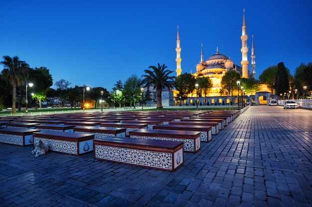 Sultan ahmed mosque or blue mosque at the night