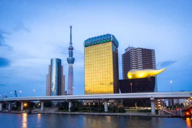 Sumida city skyline at sunset with landmark building