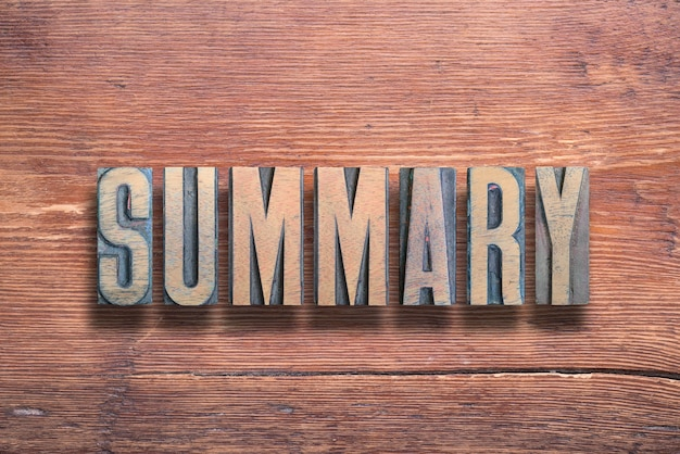 Summary word combined on vintage varnished wooden surface
