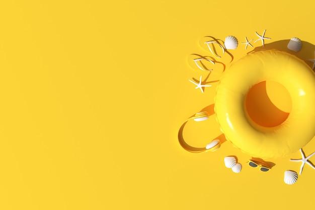 夏のアクセサリー、ヘッドフォン、サングラス、ヒトデ、シェル、インフレータブルリング、黄色の背景のフリップフロップ