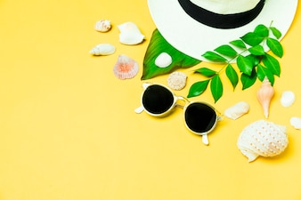Summer accessories with seashell and leaf