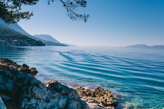 Summer Adriatic Sea coastline view