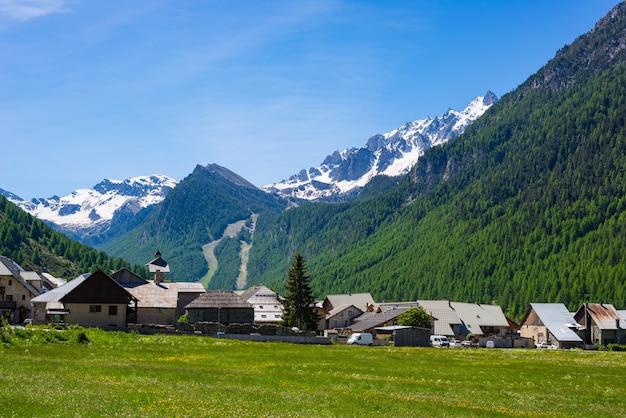 Summer in the alps, tourist resort, vacation village