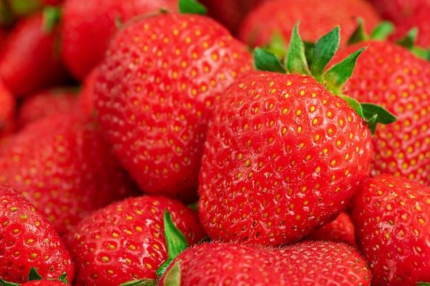 신선한 익은 딸기의 여름 배경입니다. 확대