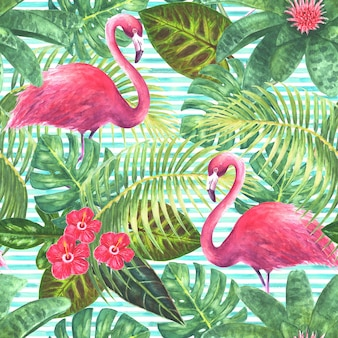 Summer background tropical exotic pink flamingos green leaves branches and bright flowers on horizontal striped teal background watercolor hand drawn illustration