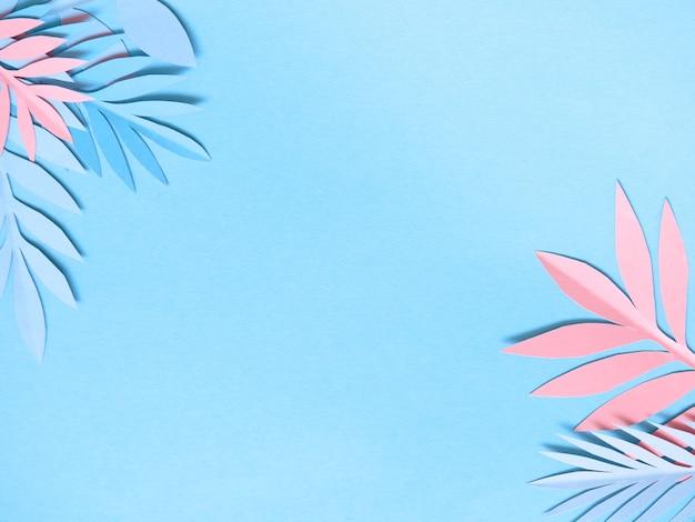 다채로운 종이 열 대 잎 여름 배경입니다.
