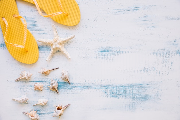 Summer background with flip flops and copyspace