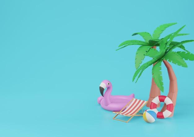 青い背景の3dレンダリングにビーチ要素と夏のバナー。