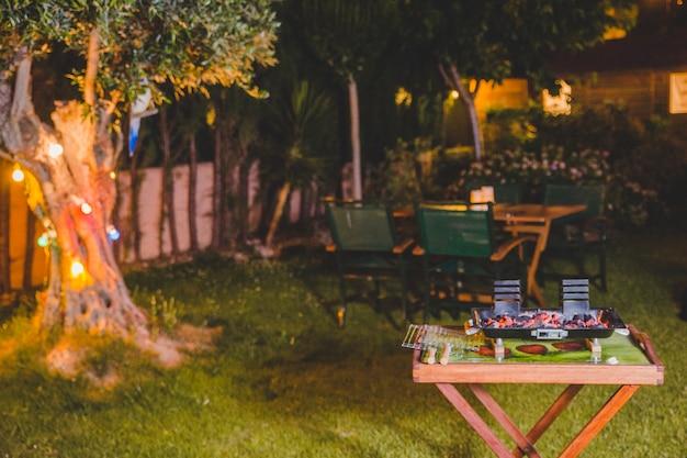 Summer barbecue at night