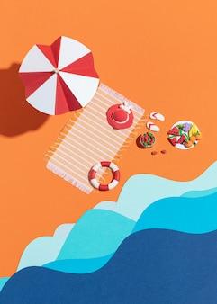 Allestimento spiaggia estivo realizzato con materiali diversi