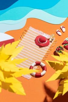 다양한 소재로 만든 여름 해변 구색 무료 사진