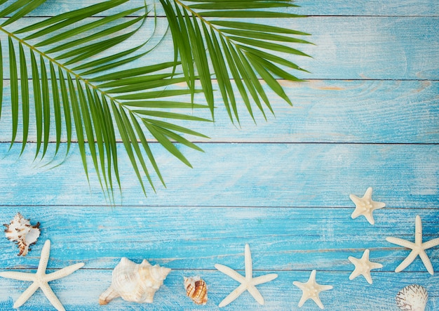 Summer beach background with palm leaves.