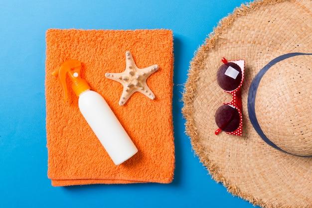 Summer beach flat lay accessories.