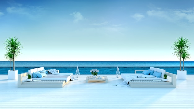 Summer,beach lounge, sun loungers on sunbathing deck and private swimming pool