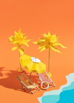 さまざまな素材で作られた夏のビーチ