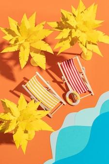 Summer beach made from different materials