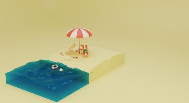 3dイラストと夏のビーチのシーンビュー。プレミアム写真