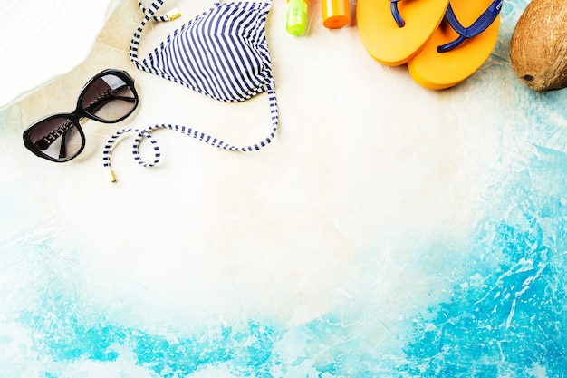 Summer beach, set of summer accessories for swimming and sunbathing on the sea, holiday concepts