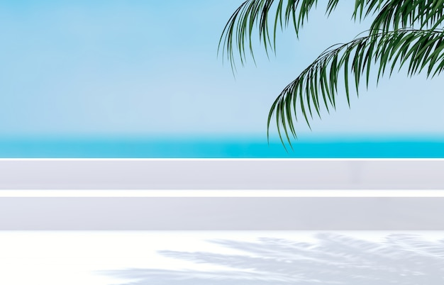Summer beach with palm tree for product display